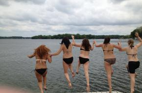 Jumping into Powers Lake for Fun