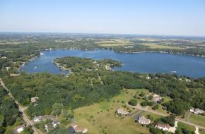Overhead view of Powers Lake, WI
